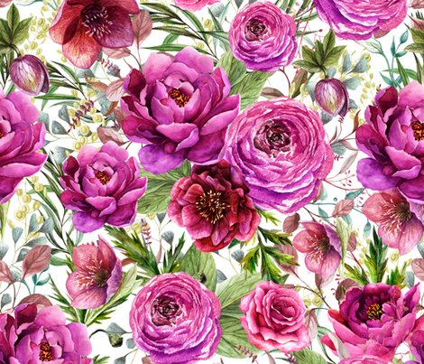 """21"""" Warrior Florals / White fabric by shopcabin on Spoonflower - custom fabric"""