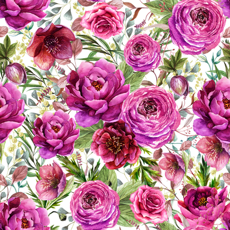 """8"""" Warrior Florals / White fabric by shopcabin on Spoonflower - custom fabric"""