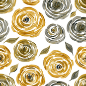 Gold and silver acrylic roses
