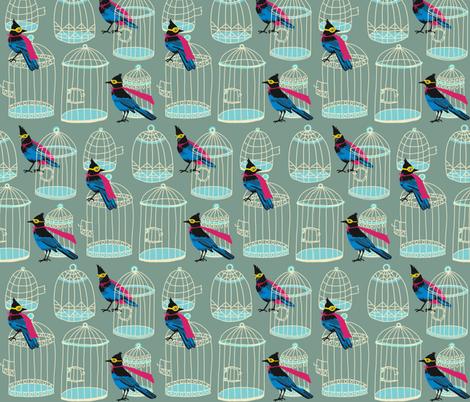 birdcage stack_super jays [pistachio] fabric by kheckart on Spoonflower - custom fabric