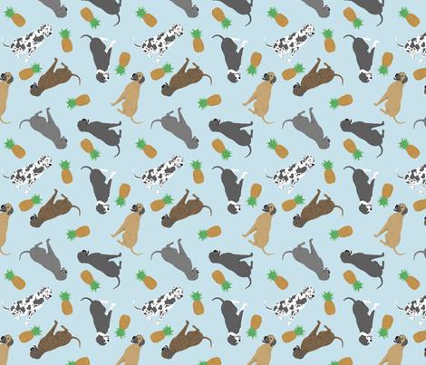 Tiny Great Danes - pineapples fabric by rusticcorgi on Spoonflower - custom fabric