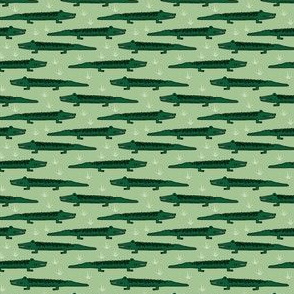 crocodile fabric // green crocodiles gators alligator design
