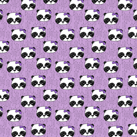 panda girl fabric // girl bow pandas fabric purple fabric by andrea_lauren on Spoonflower - custom fabric