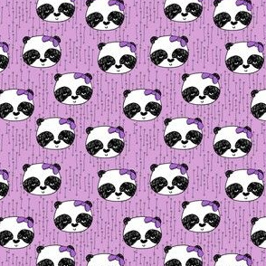 panda girl fabric // girl bow pandas fabric purple