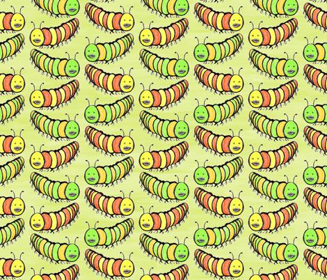 Creepy Crawly Coloured Caterpillars fabric by rhondadesigns on Spoonflower - custom fabric