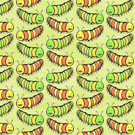 Creepy Crawly Coloured Caterpillars fabric by rhondadesigns on Spoonflower - custom fabric