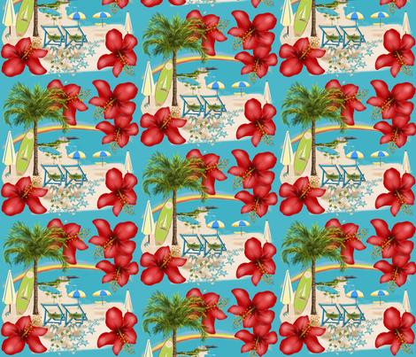 Rainbow Waikiki Tropical Vacation fabric by salzanos on Spoonflower - custom fabric