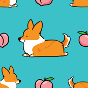 Corgi Peach Sploot Tail (Blue BG)