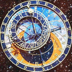 7 clocks time stars universe red galaxy zodiac Horoscope Aries Taurus Gemini Cancer Leo Virgo Libra Scorpio Sagittarius Capricorn Aquarius Pisces  astrology gold  roman numerals cosmic cosmos planets galaxies nebulae night quasars transparent see through