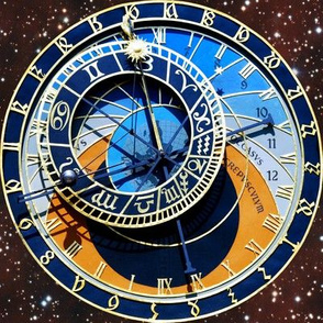 2 clocks time stars universe red galaxy zodiac Horoscope Aries Taurus Gemini Cancer Leo Virgo Libra Scorpio Sagittarius Capricorn Aquarius Pisces astrology gold  roman numerals cosmic cosmos planets galaxies nebulae night quasars