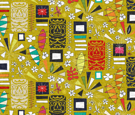 tiki yellow fabric by scrummy on Spoonflower - custom fabric