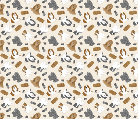 Tiny Shih Tzus - barn hunting fabric by rusticcorgi on Spoonflower - custom fabric