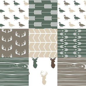 duck wholecloth - hunting fishing outdoors (dark sage)