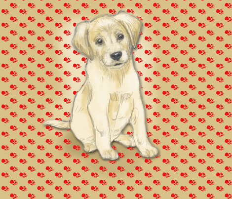 Sitting Labrador Retriever Puppy for Pillow fabric by eclectic_house on Spoonflower - custom fabric