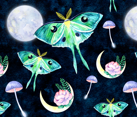 Luna moth butterfly and fullmoon night fabric by kotyplastic on Spoonflower - custom fabric