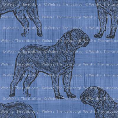 Tiny Dogue de Bordeaux stamp on linen - blue