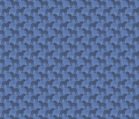 Tiny Dogue de Bordeaux stamp on linen - blue fabric by rusticcorgi on Spoonflower - custom fabric