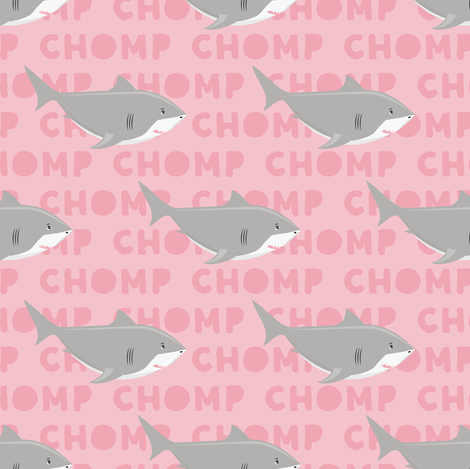 Sharks CHOMP - pink fabric by littlearrowdesign on Spoonflower - custom fabric