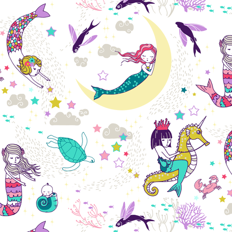 Mermaid Lullaby (small) Candy white background  fabric by nouveau_bohemian on Spoonflower - custom fabric