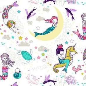 Mermaid Lullaby (small) Candy white background