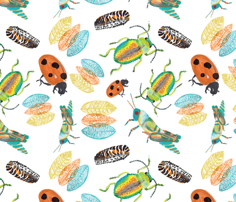 watercolor-insects01 fabric by emily_caraballo on Spoonflower - custom fabric
