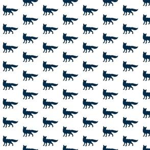 Fox - navy on white