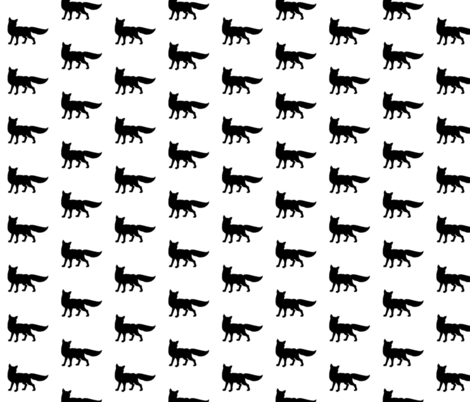 Fox - black on white fabric by sugarpinedesign on Spoonflower - custom fabric
