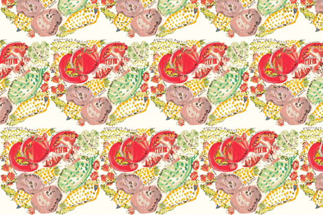 Whimsical Potato Bugs and Friends fabric by kimruss@thatcatart on Spoonflower - custom fabric
