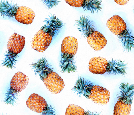 Painted Pineapples on White fabric - micklyn - Spoonflower