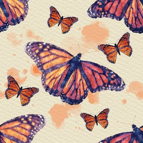 Monarch Butterflies With Orange Watercolor