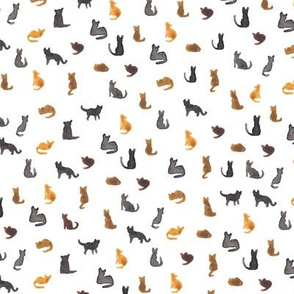 Watercolour Tiny Cats Pattern