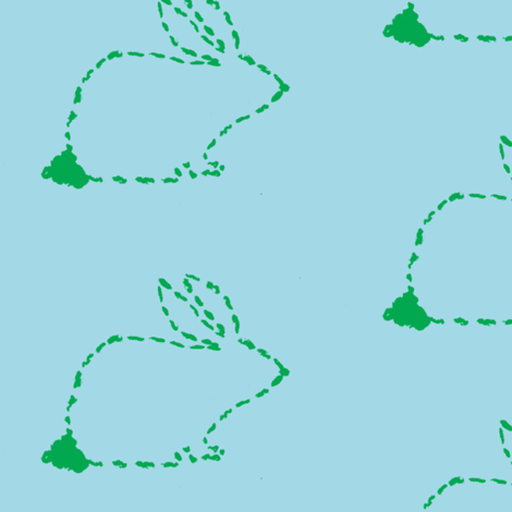 Green Bunny on Blue fabric by atlas_&_tootsie on Spoonflower - custom fabric