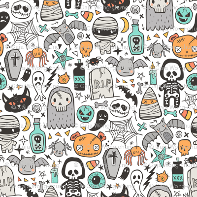 Halloween Doodle Skulls,Spiders,Skeleton,Bat, Ghost,Web, Zombies on White
