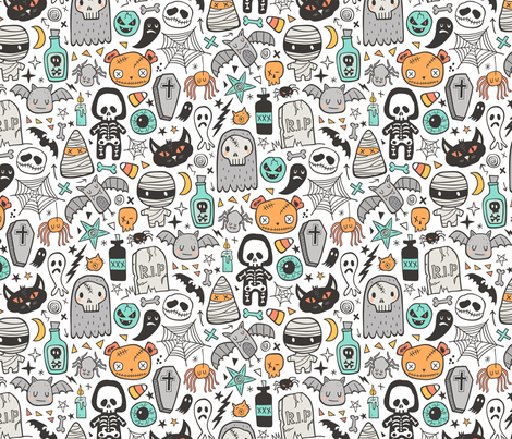 Halloween Doodle Skulls,Spiders,Skeleton,Bat, Ghost,Web, Zombies on White fabric by caja_design on Spoonflower - custom fabric