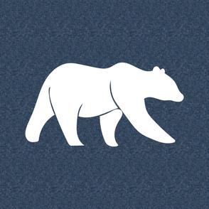 """Large Bear on navy linen (42"""")"""