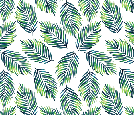 Tropical green branches fabric by juliabadeeva on Spoonflower - custom fabric