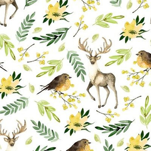 Deer and birds