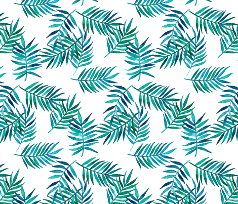 Paradise Palm Leaves - green, navy, teal on white fabric by micklyn on Spoonflower - custom fabric