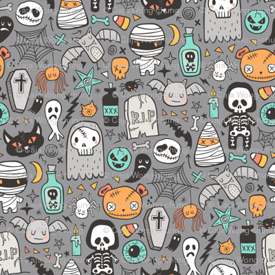 Halloween Doodle Skulls,Spiders,Skeleton,Bat, Ghost,Web, Zombies on Dark Grey