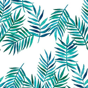 Paradise Palm Leaves 2 - green, navy, teal on white