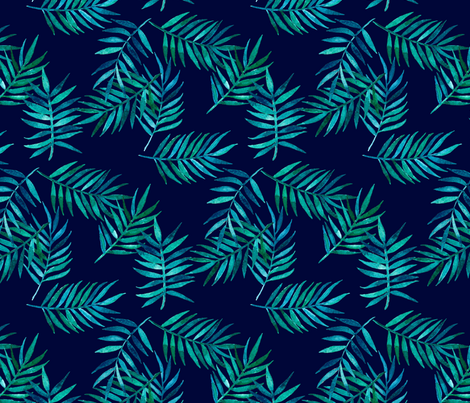 Paradise Palm Leaves - green, blue, teal on navy fabric by micklyn on Spoonflower - custom fabric