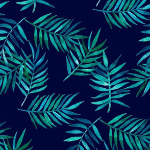 Paradise Palm Leaves - green, blue, teal on navy