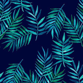 Paradise Palm Leaves 2 - green, blue, teal on navy
