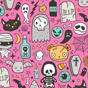 Halloween Doodle Skulls,Spiders,Skeleton,Bat, Ghost,Web, Zombies on Pink
