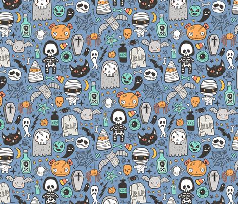 Halloween Doodle Skulls,Spiders,Skeleton,Bat, Ghost,Web, Zombies on Blue fabric by caja_design on Spoonflower - custom fabric
