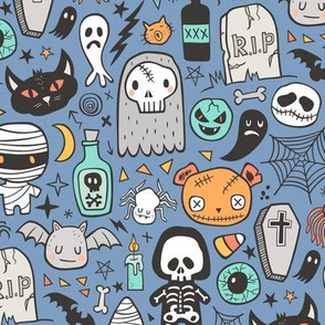 Halloween Doodle Skulls,Spiders,Skeleton,Bat, Ghost,Web, Zombies on Blue