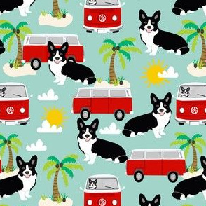 black and white corgi fabric summer beach bus hippie bus palm trees corgis