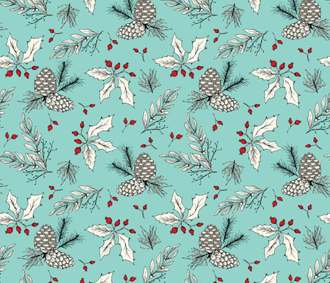 Winter Bits - Ivory, Turquoise fabric by fernlesliestudio on Spoonflower - custom fabric