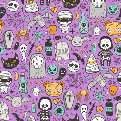 Halloween Doodle Skulls,Spiders,Skeleton,Bat, Ghost,Web, Zombies on Purple