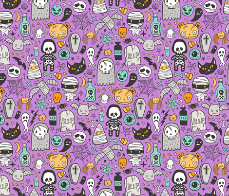Halloween Doodle Skulls,Spiders,Skeleton,Bat, Ghost,Web, Zombies on Purple fabric by caja_design on Spoonflower - custom fabric